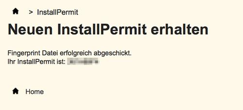Installpermit_erhalten